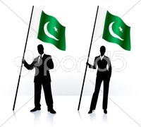 Business silhouettes with waving flag of Pakistan - stock illustration