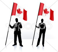 Business silhouettes with waving flag of Canada Stock Illustration