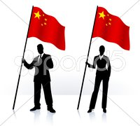 Business silhouettes with waving flag of China Stock Illustration