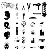 Set of salon shop items for beauty concept Stock Illustration