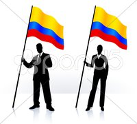 Business silhouettes with waving flag of Columbia Stock Illustration
