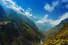 In the mountains in the Karmadon gorge. Of North Ossetia. Stock Photos