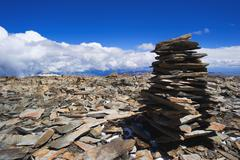 Pile of rocks stone in mountains. Pyramid of stones. Stock Photos