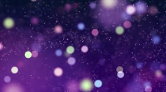 Motion background video loop - moving blurred colorful particles on purple layer Stock Footage