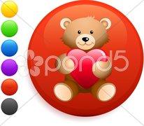 Teddy break icon on round internet button Stock Illustration