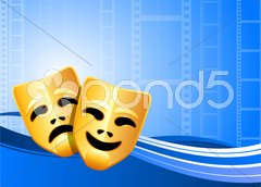 Comedy and tragedy theater masks background Stock Illustration