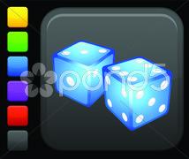 dice icon on round internet button - stock illustration