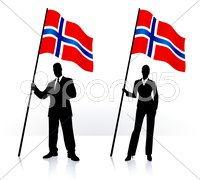 Business silhouettes with waving flag of Norway Stock Illustration