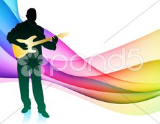 Guitar Musician on Colorful Abstract Background - stock illustration
