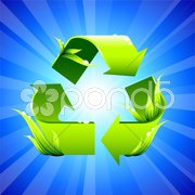 Recycling sign on glowing background Stock Illustration
