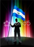 Business silhouettes with waving flag of El Salvador Stock Illustration
