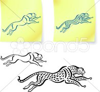 Jaguar and leopard drawings on post it notes Stock Illustration