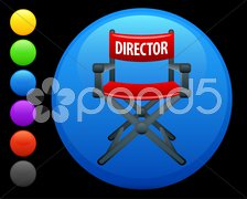 Director chair icon on round internet button Stock Illustration