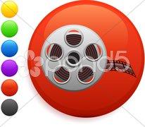 Film reel icon on round internet button Stock Illustration