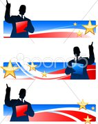 Business executive with patriotic banners Stock Illustration