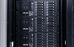 Disk storage blades in the mainframe server room Stock Photos