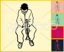 African American boy playing trumpet Stock Illustration