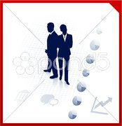 Business team silhouettes on corporate background Stock Illustration