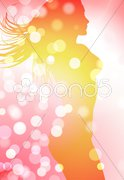 Sexy Woman on Lens Flare Background - stock illustration