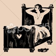 Young man in bed etching Stock Illustration