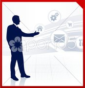 Businessman displaying internet icons Stock Illustration