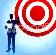 Bull's eye target background with business executives Stock Illustration