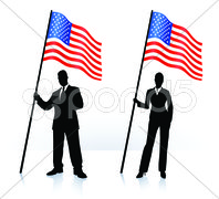 Business silhouettes with waving flag of United States of Americ Stock Illustration