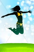 Sexy Young Woman on Vacation with Nature Background Stock Illustration