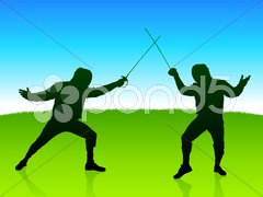 Fencer on Daytime Background Stock Illustration