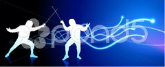 Fencer on Light Spark Abstract Background Stock Illustration