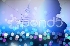 Sexy Woman on Lens Flare Background Stock Illustration