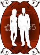 sexy couple - stock illustration