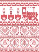 Xmas tall pattern with gravy train and xmas presents - stock illustration