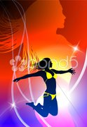 Sexy Woman Celebration with Light Streak - stock illustration