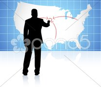 Young business man drawing on world map - stock illustration