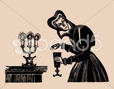 Poison wine etching Stock Illustration