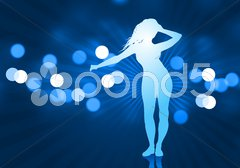 Sexy Young Woman on Lens Flare Background - stock illustration