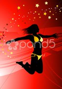 Sexy Young Woman on Abstract Red Background Stock Illustration