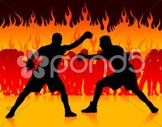 Boxer championship on internet fire background Stock Illustration