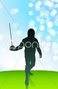 Fencer on Lens Flare Summer Background Stock Illustration