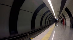 Subway train station in Istanbul city metro Stock Footage