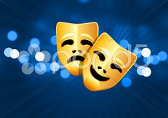 Comedy and tragedy masks on blue glow background Piirros