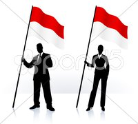 Business silhouettes with waving flag of Indonesia - stock illustration