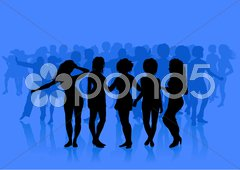 Sexy Young Women on Blue Background Stock Illustration