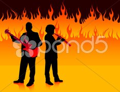 Musical Band in Hell Stock Illustration
