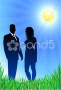 Glamor couple on summer background - stock illustration