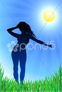 Sexy young woman dancing green grass with sun internet backgroun Stock Illustration
