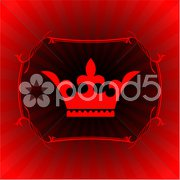 Ornate crown on glowing background - stock illustration