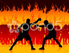Boxer championship on internet fire background Stock Illustration