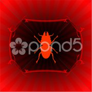Insect on red frame background Stock Illustration